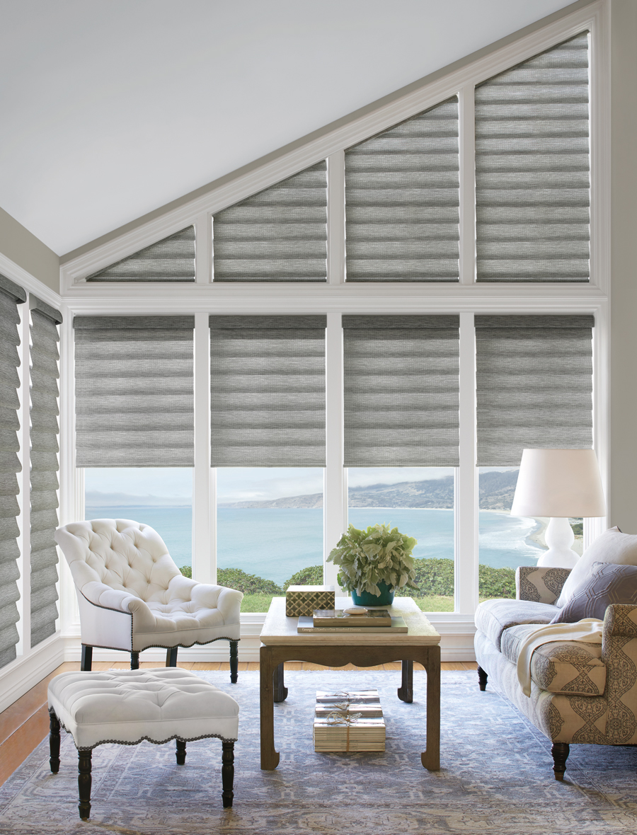 Grey white living room vignette roman shades Hunter Douglas San Antonio 78249