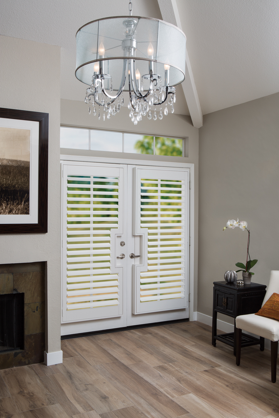 Greige white entryway white plantation shutters for doors Hunter Douglas San Antonio 78249
