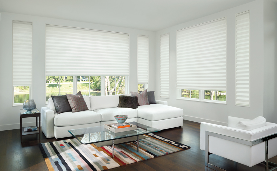 Shades of white living room solera roman shades Hunter Douglas San Antonio 78249