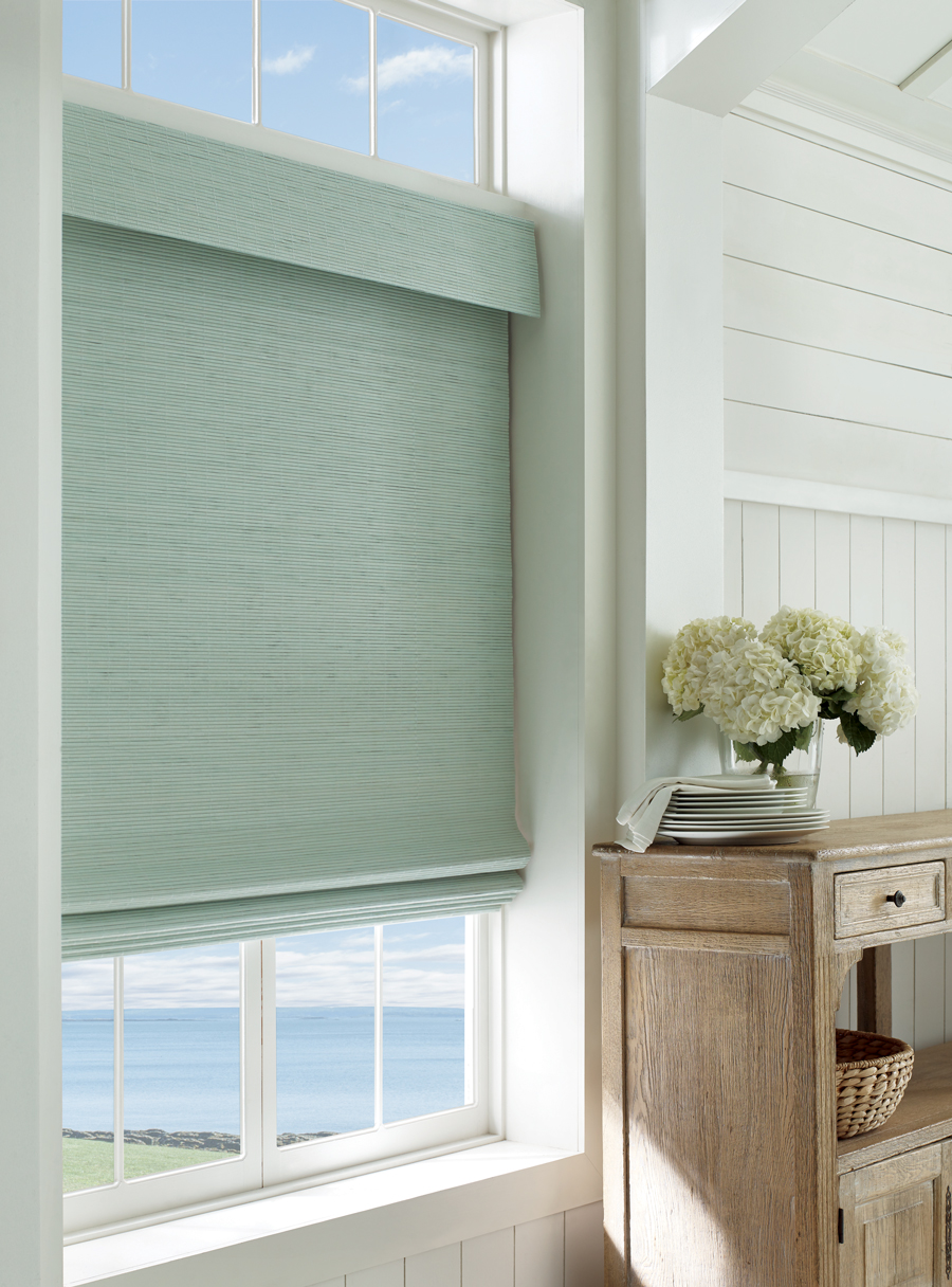 Coastal chic decor provenance woven wood shades Window Fashions of Texas Hunter Douglas San Antonio 78249