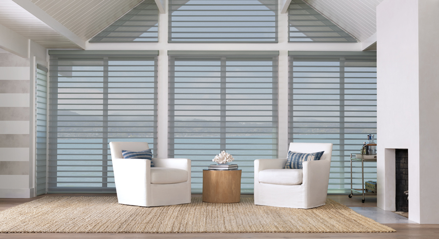 Coastal Decor silhouette shades living room Window Fashions of Texas Hunter Douglas San Antonio 78249
