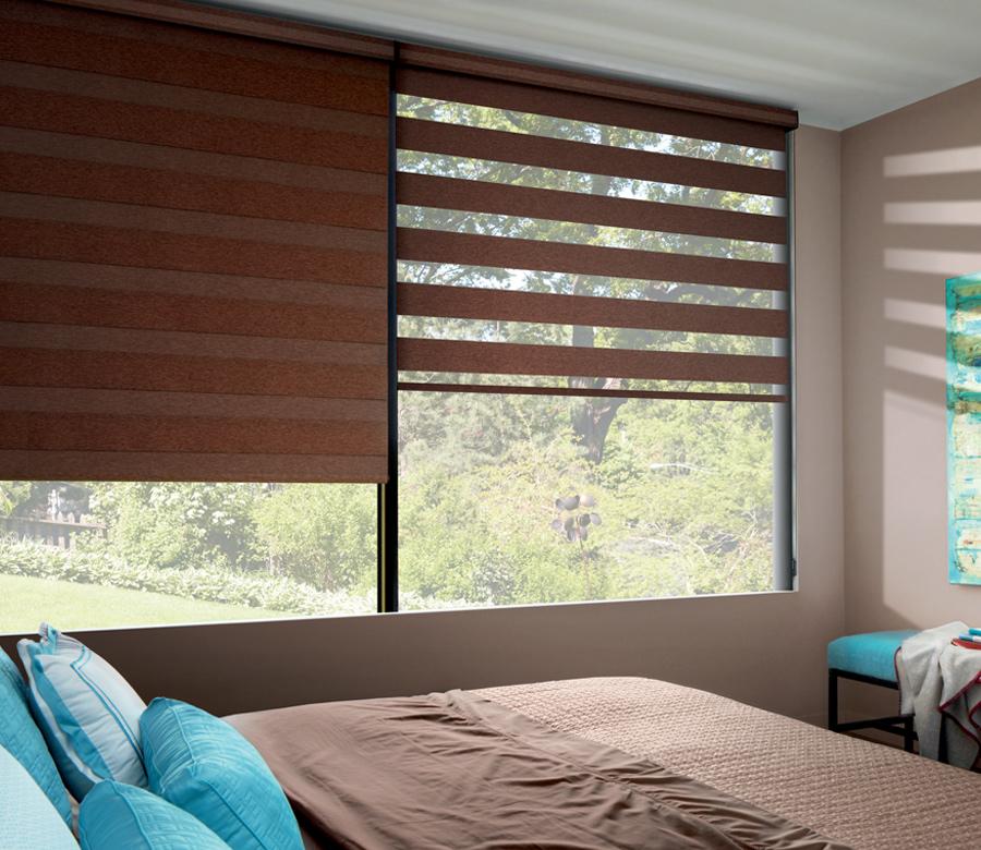 Hunter Douglas designer banded window roller shades with room darkening San Antonio