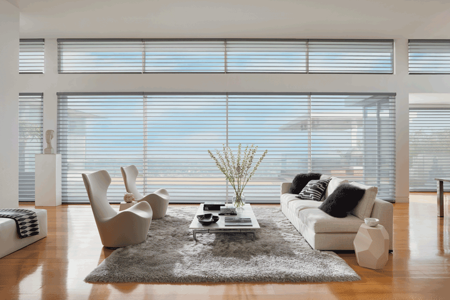 living room silhouette window shades designing with minimalism Hunter Douglas San Antonio 78249