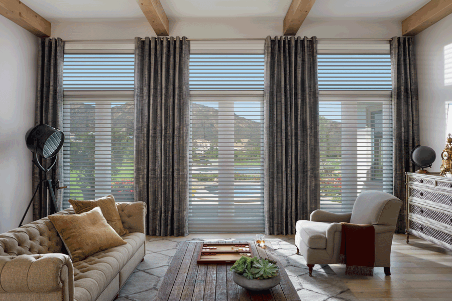 living room silhouette shades covering floor to ceiling windows Hunter Douglas San Antonio 78249