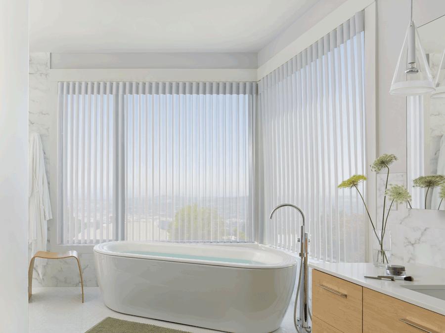 bathroom luminette sheer shades covering floor to ceiling windows Hunter Douglas San Antonio 78249