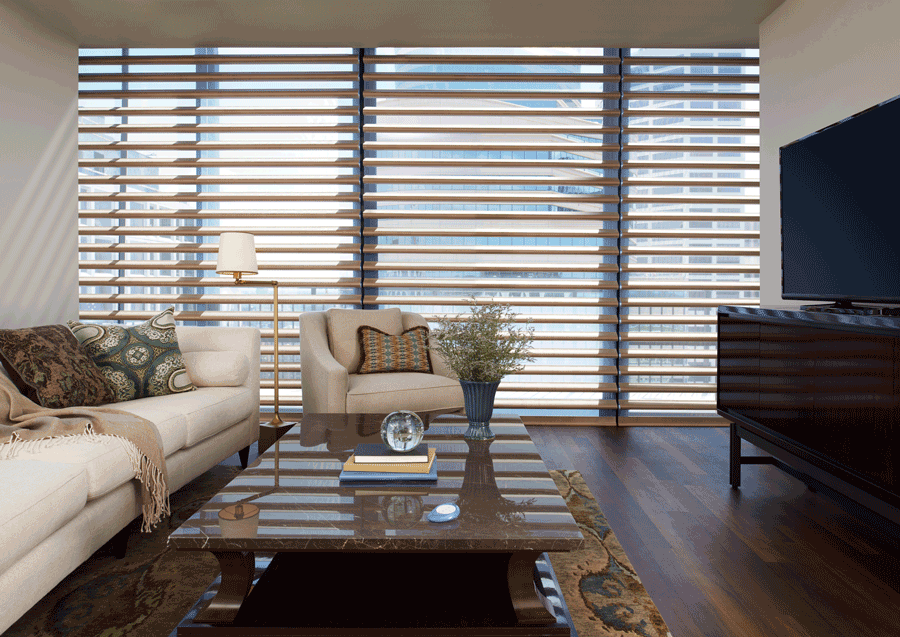 Floor to ceiling window treatments.
