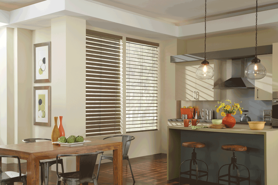 kitchen horizontal modern precious metal blinds hygge comfort design ideas Hunter Douglas San Antonio 78249