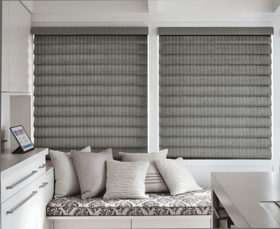 bedroom vignette modern roman shades best insulating window treatments Hunter Douglas plantation shutters best insulating window treatments Hunter Douglas San Antonio 78249