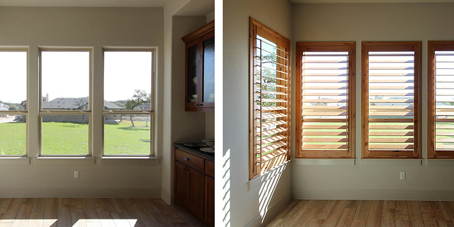 before and after knotty alder shutters San Antonio 78249
