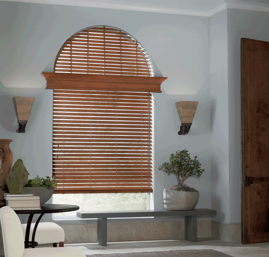 custom Hunter Douglas wood window blinds arched window treatments Central Texas