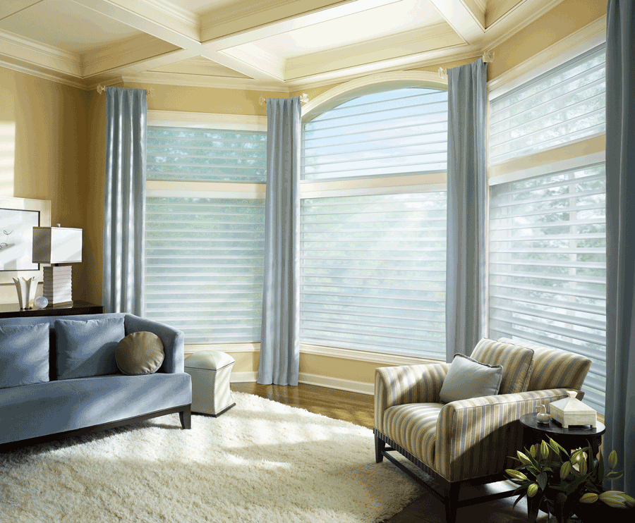 hunter douglas silhouette shades arched window treatments Central Texas