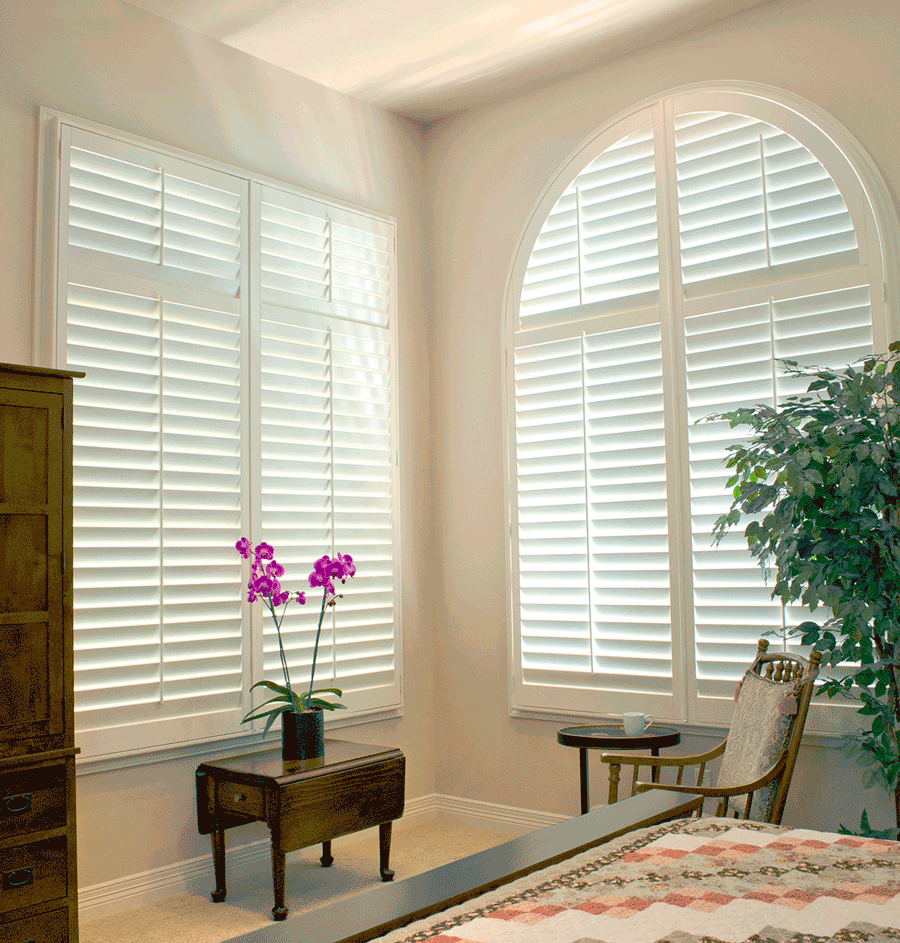 custom plantation shutters for arched window treatments Central Texas