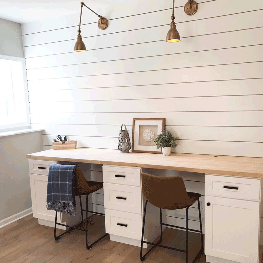 home office shiplap walls brass lighting style statements
