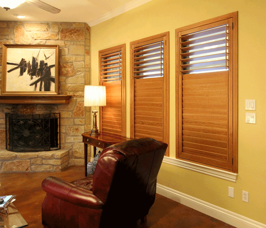 Plantation shutters in traditional living room in San Antonio, Texas.