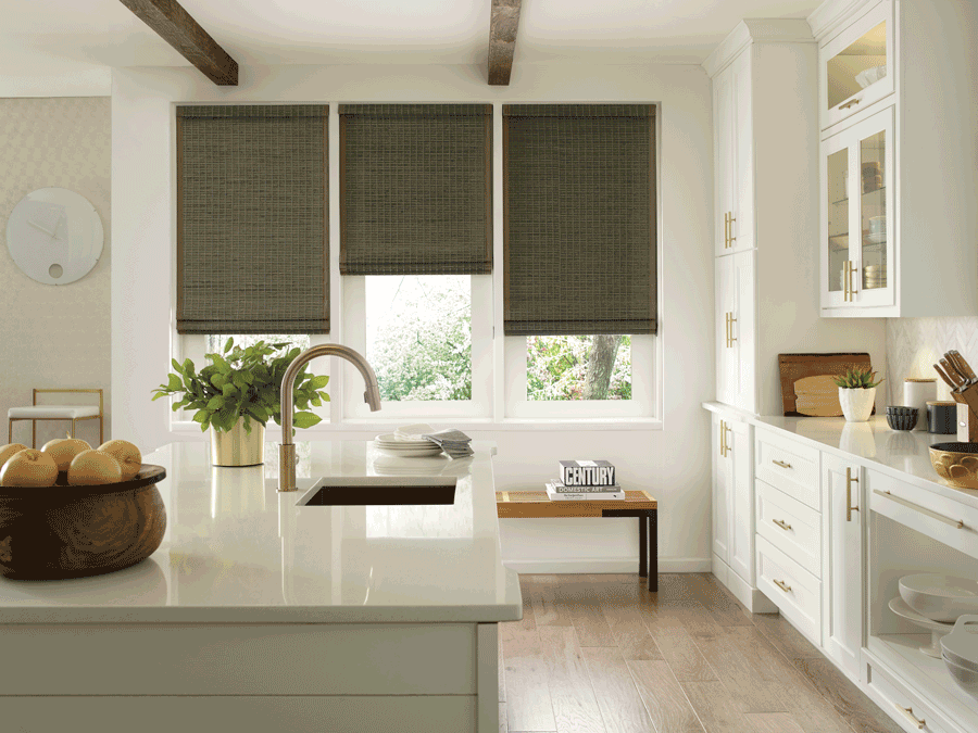 Woven farmhouse window treatments above bench in San Antonio home.