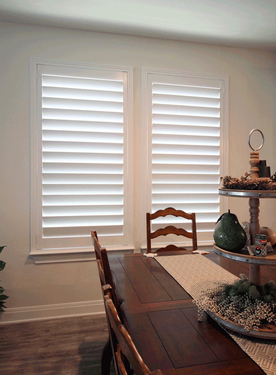 Plantation shutters in San Antonio home are the perfect farmhouse window treatments.