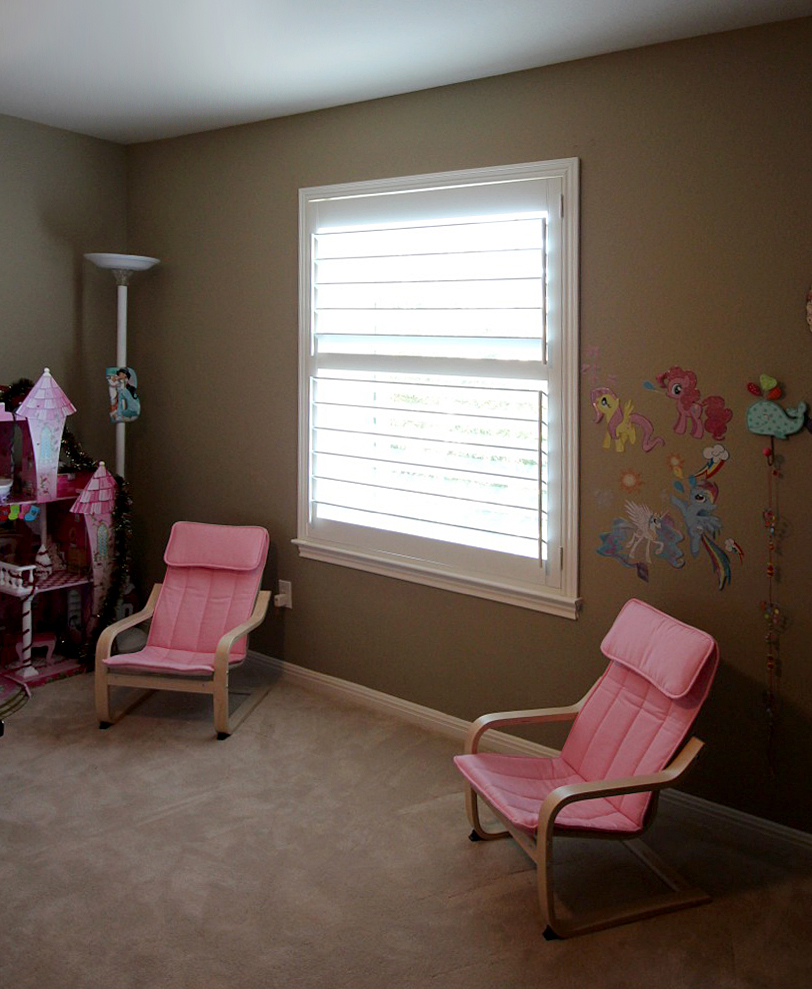 Plantation shutters have no blind cords so they are extra safe for young children.