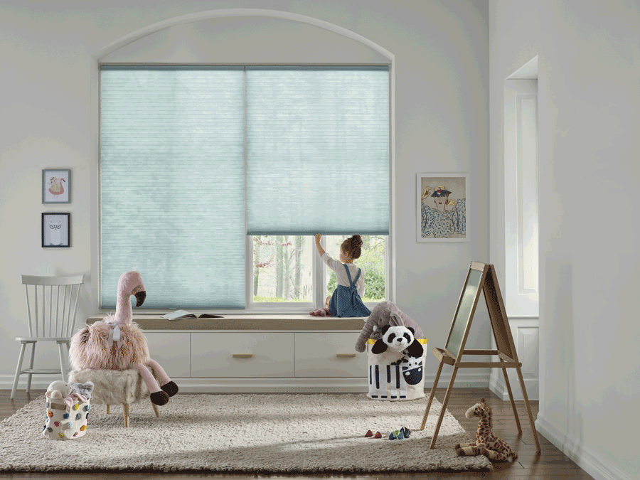 Children lifting cordless blinds in San Antonio home.
