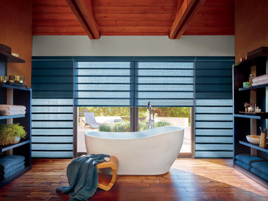 hunter douglas window shades color of the year 2020 blue bathroom San Antonio TX