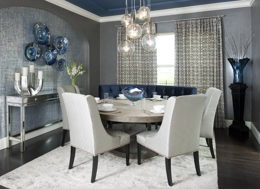 dining room with blue ceiling grasscloth wallpaper