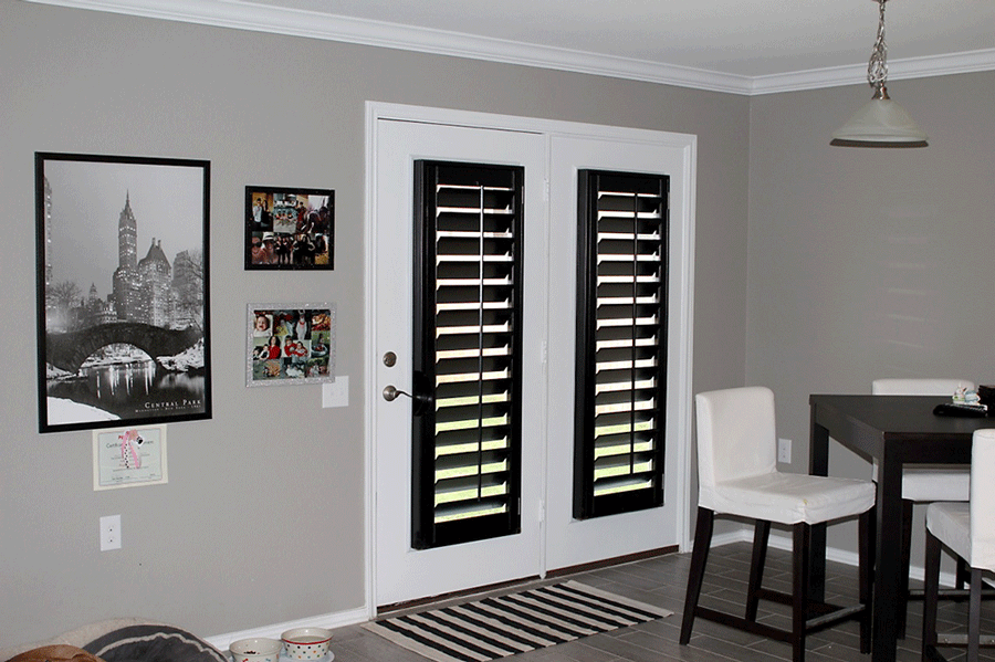 french doors with black shutters San Antonio