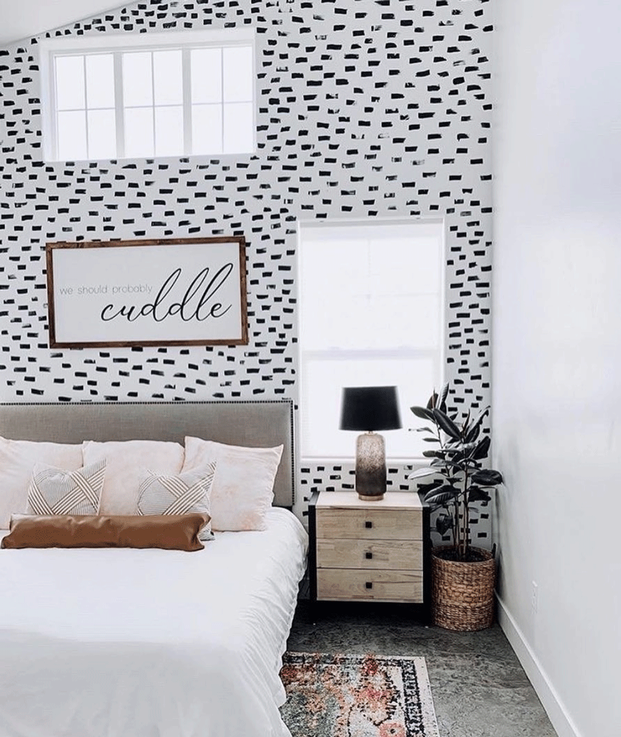 contemporary painting style for black and white wallpaper look