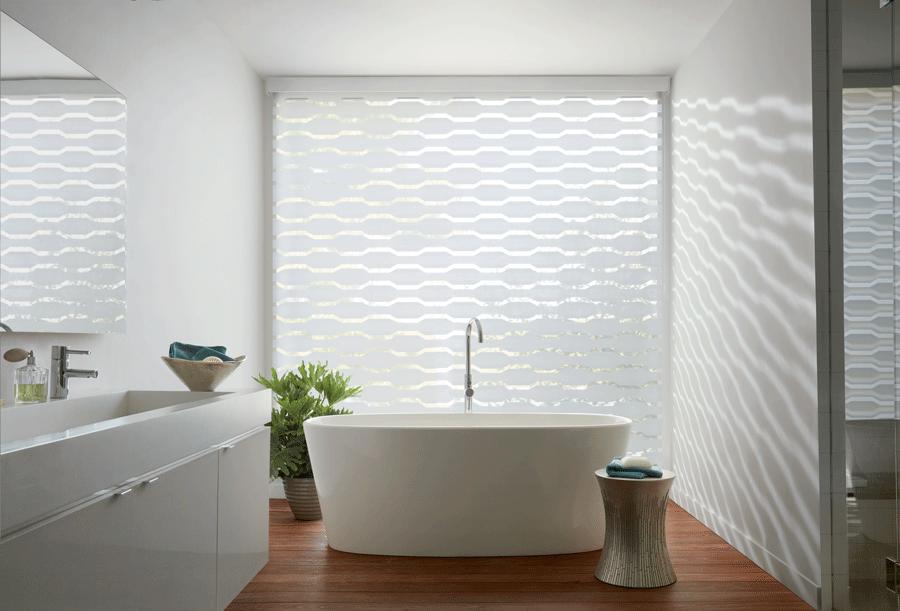 bathroom white designer banded shades window fashions of texas san antonio