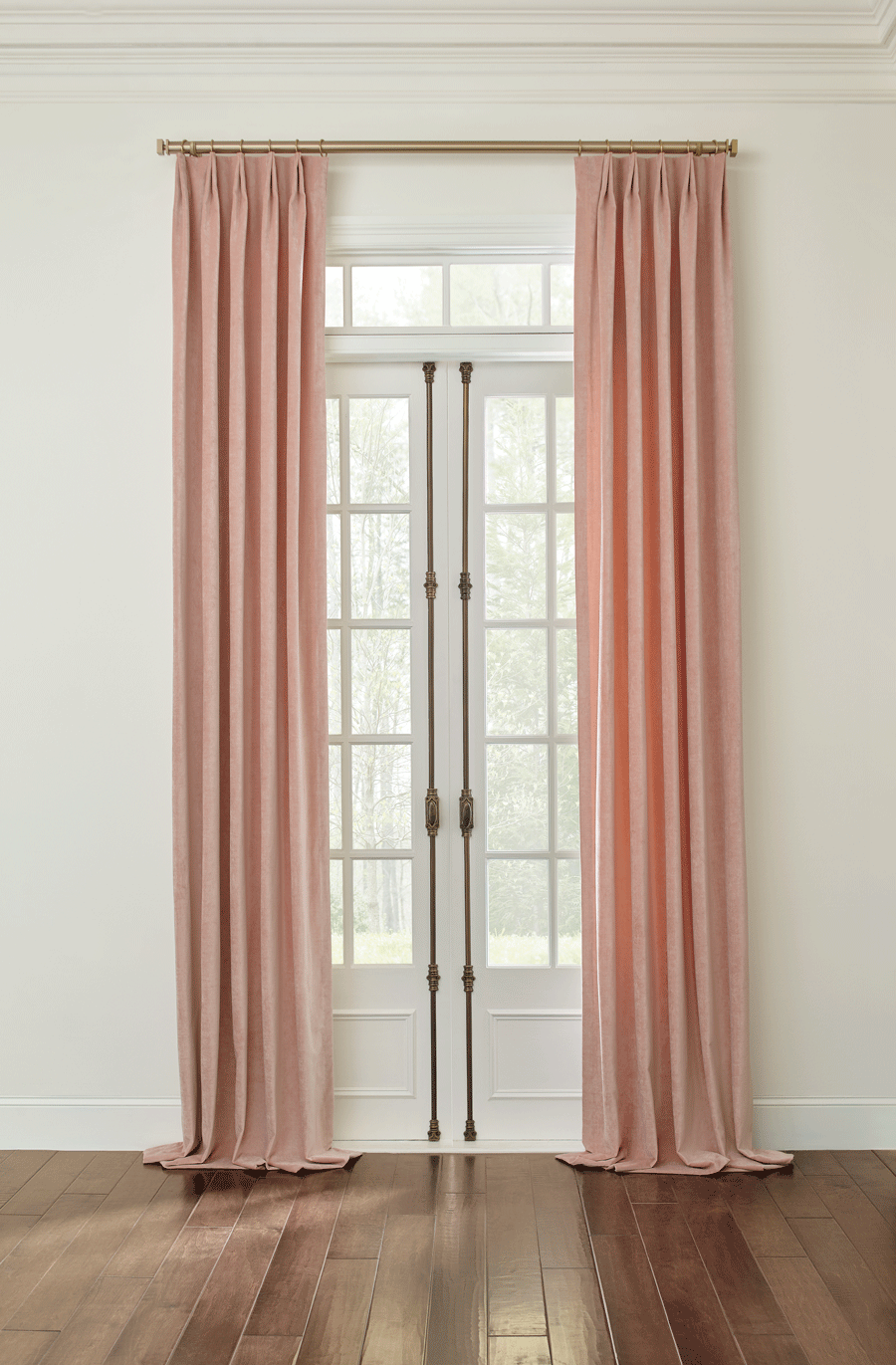 french doors with blush drapery panels san antonio TX