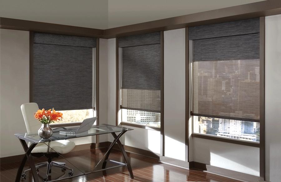 home office modern design roller shades san antonio
