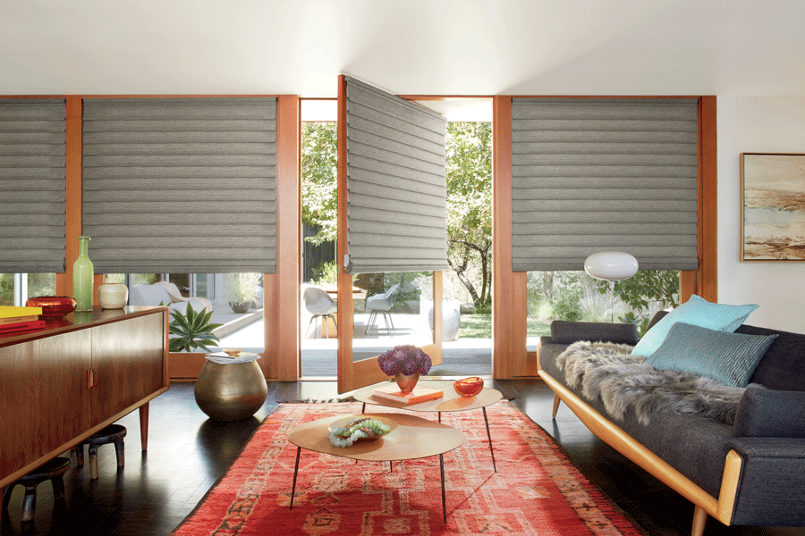 Living room with rotating doors featuring Hunter Douglas shades.