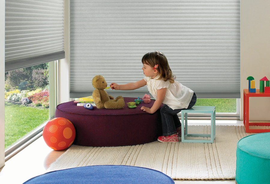 child safe duette shades in childs bedroom