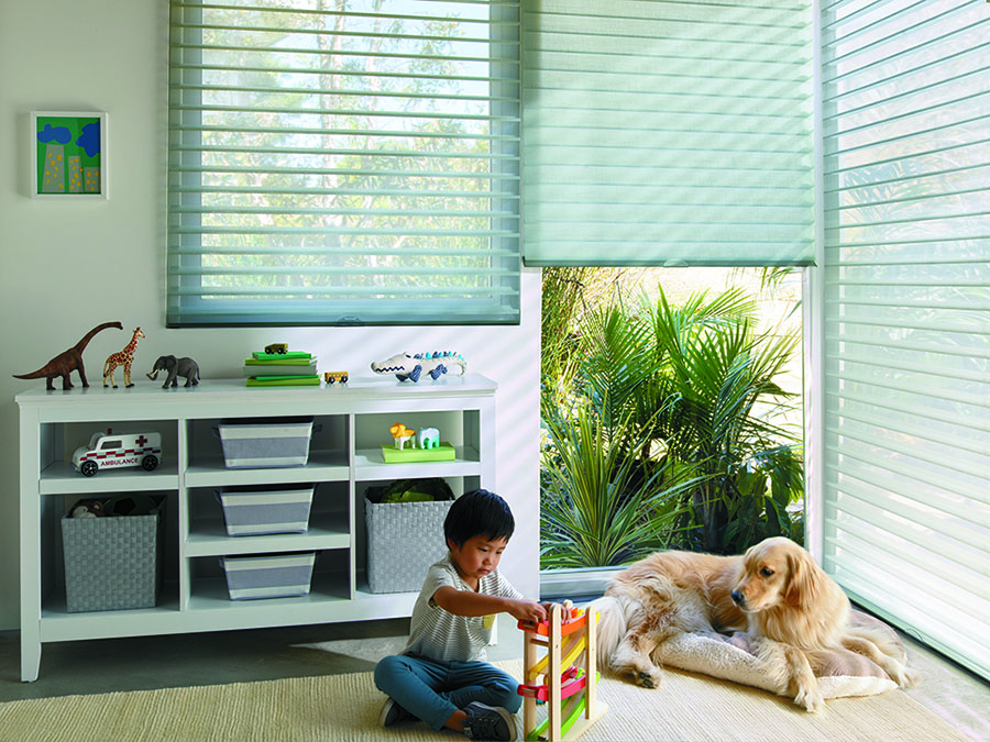 Protect kids and pets in playrooms with cordless blinds