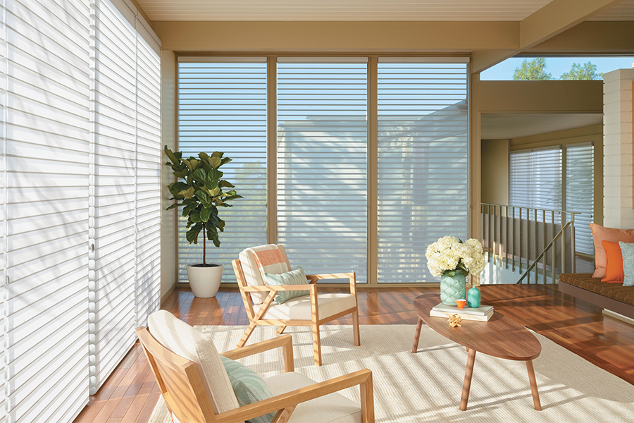 Moden living room with wood elements features sheer Hunter Douglas shades on the floor-to-ceiling windows