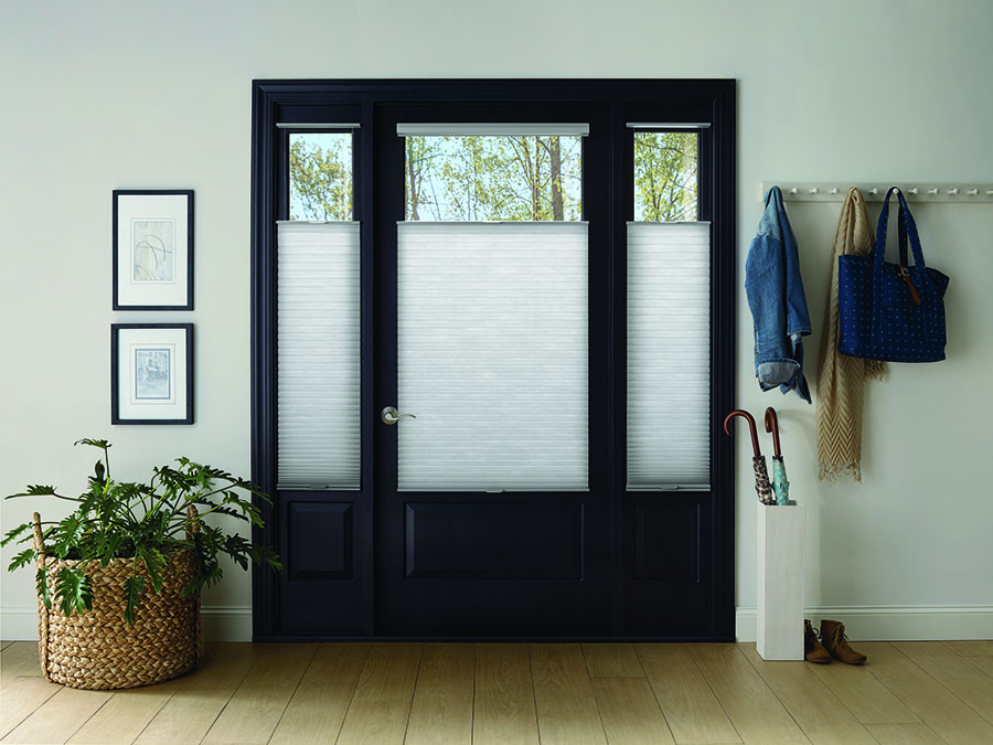 Adding safety to a glass front door wiith privacy shades