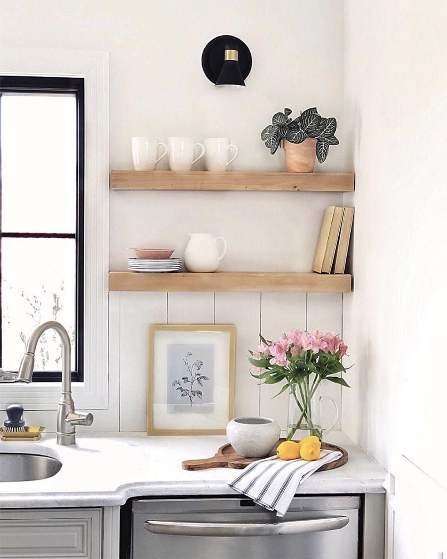 open wooden shelves in kitchen