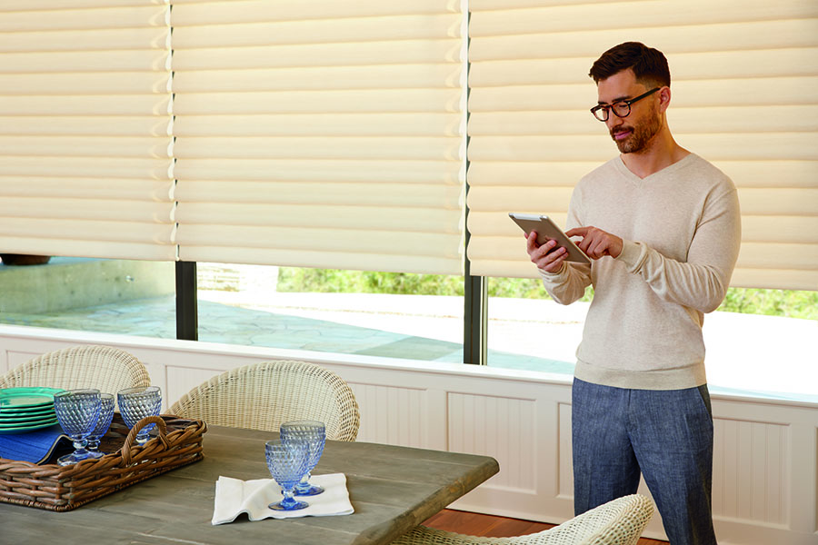 Dine in private with automatic shades you control from an app
