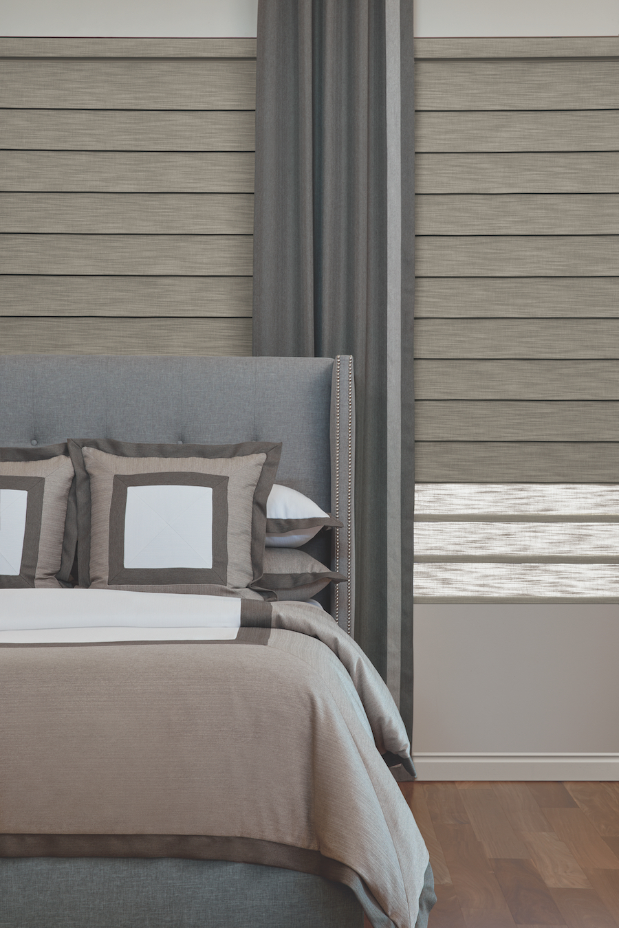 Bedroom with Duolite® Vignette Roman Shades.
