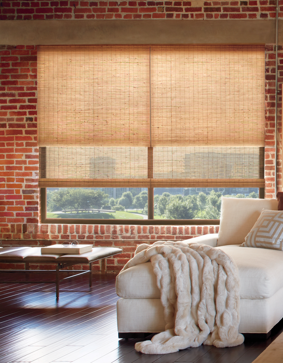 urban city style living room provenance dual woven shades