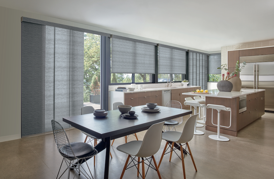 designer roller shades with gray fabric