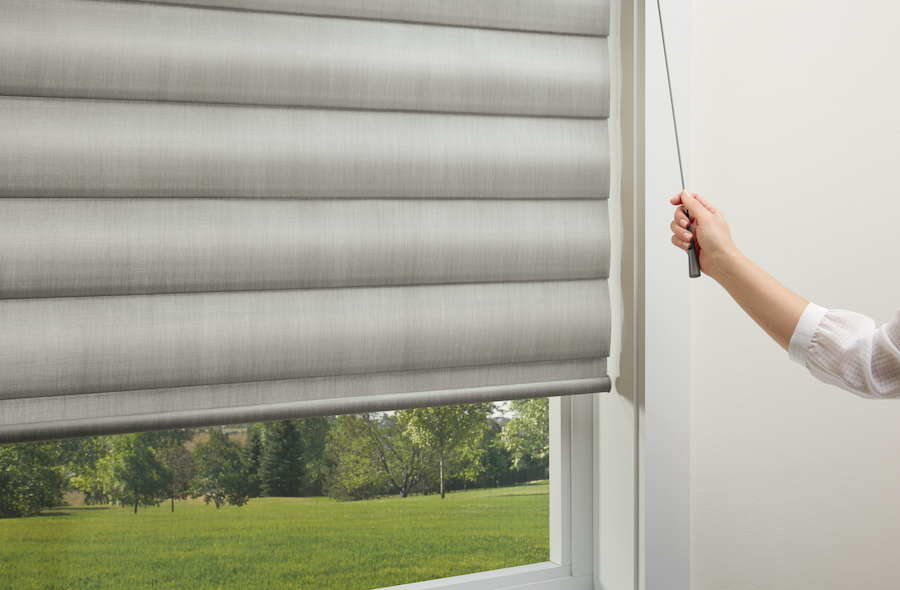 Retractable cord, called UltraGlide, on window shades.