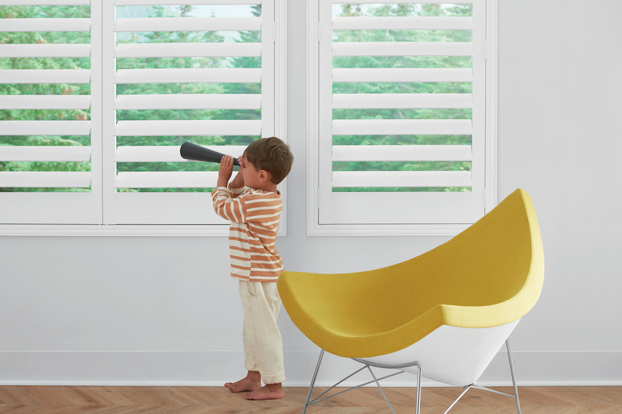 Shutters in playroom to eliminate blind cords.