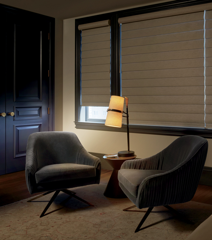 room darkening details in home office with window shades closed San Antonio TX