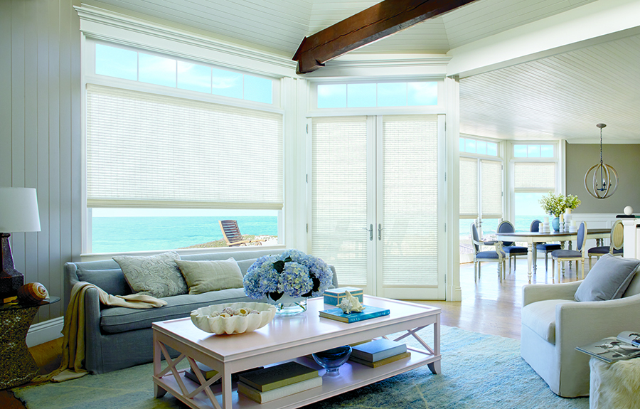 white woven wood french door shades