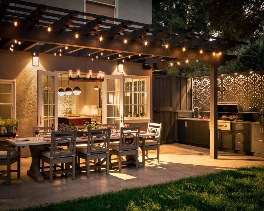 Outdoor patio area with dining table