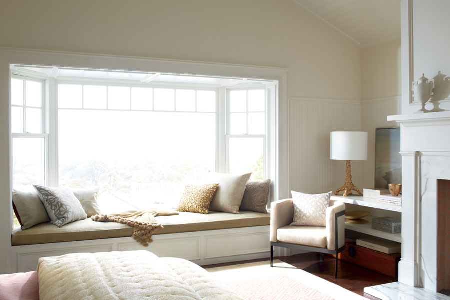 bare windows in bedroom without window coverings in San Antonio TX
