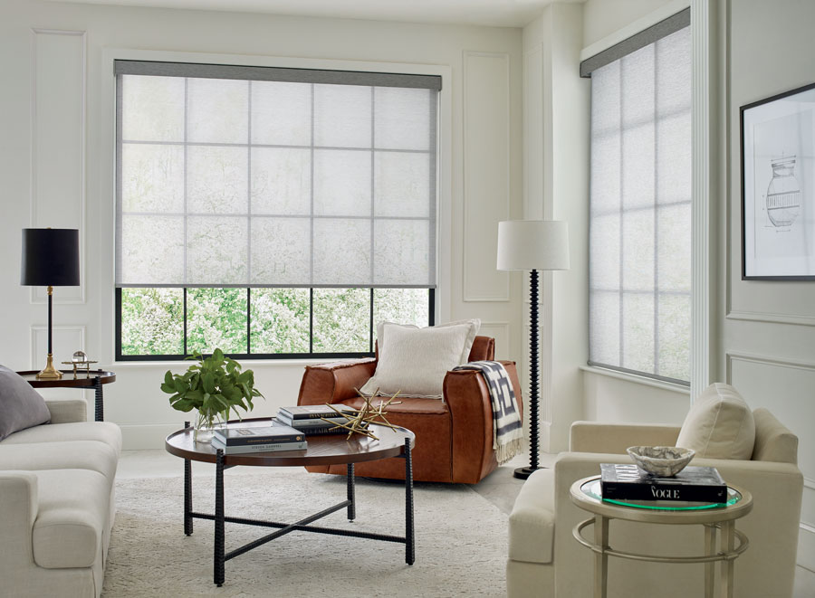 gray screen shades in the corner of San Antonio TX living room