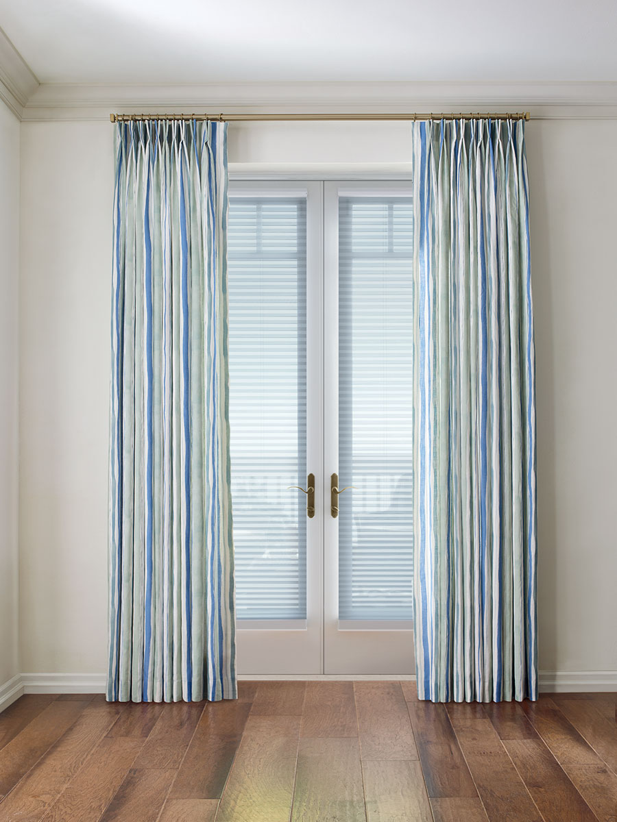 draperies and shades layered on french doors in San Antonio TX