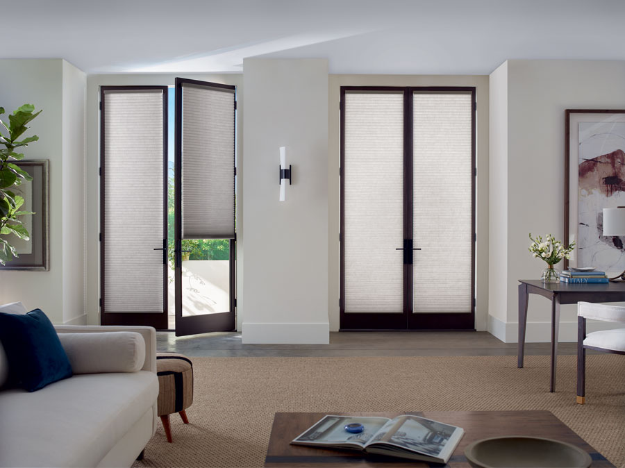 custom door coverings on french doors with trackglide operating system