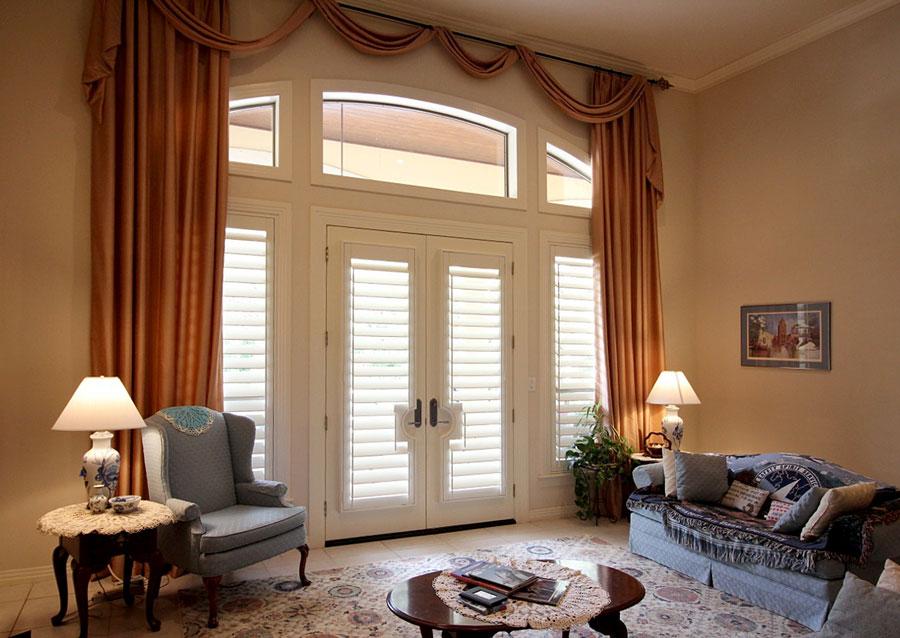 Custom Shutters for French Doors in living room in San Antonio TX