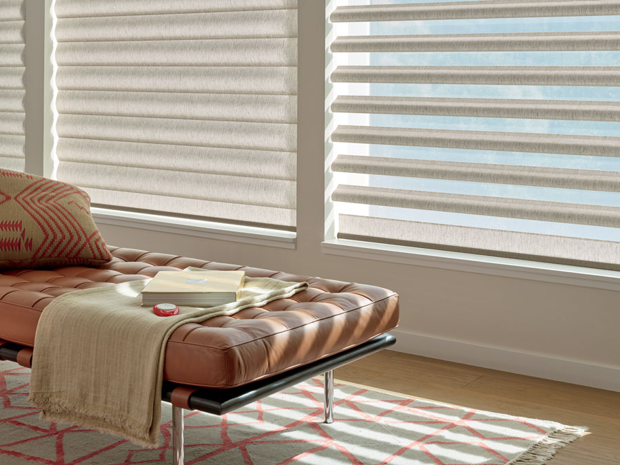 pirouette shades on living room window one with sheers, one with solids in San Antonio TX
